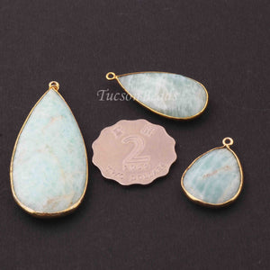 3 Pcs Amazonite Faceted Pear Shape 24k Gold Plated Pendant - 56mmx24mm-28mmx18mm PC082 - Tucson Beads