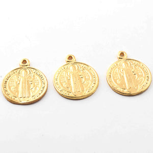 10 Pcs  Designer 24k Gold Plated Round Charm ,Copper Design Pendant ,Jewelry Making 26mmx21mm GPC980 - Tucson Beads