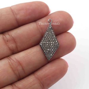 1 Pc Pave Diamond Kite Charm 925 Sterling Silver Pendant - 27mmx12mm PDC1263 - Tucson Beads