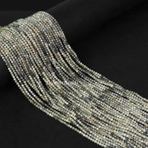 5 Strand  Gray Silverite Micro Faceted Tiny Rondelles - 2mm 13 Inches Long RB037 - Tucson Beads