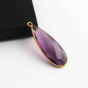 5 Pcs Amethyst  Faceted 925 Sterling Vermeil Pear Shape Single Bali  Pendant -32mmx11mm SS956 - Tucson Beads