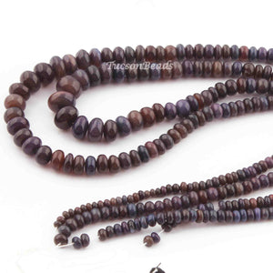 2  Strand Ethiopian Black Opal Smooth Roundels -Round Shape  Roundels 9mmx6mm- 5mmx3mm 18 Inches BR2382 - Tucson Beads