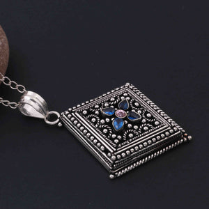 1 Pc Oxidized Silver Plated Multi Gemstone Kite Pendant, 65mmx49mm Oxidized Metal Jewelry Pendant - OS002 - Tucson Beads