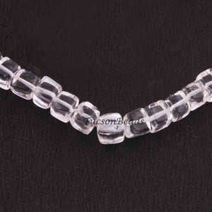 1 Strand  Crystal Quartz Smooth Cube Briolettes - Plain Box Shape Briolettes 5mm-6mm 8.5 Inches BR2547 - Tucson Beads