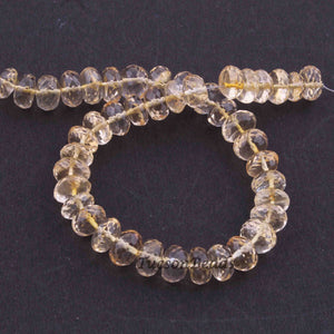 1 Strand Lemon Quartz Faceted Roundels  beads - Gemstone Roundels  Beads 8-9mm 8 Inches BR2043 - Tucson Beads