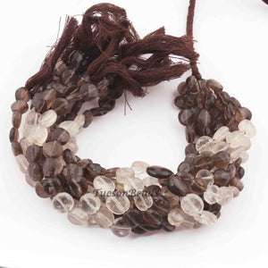 1 Strands Shaded Smoky Quartz Faceted  Briolettes - Coin Shape Briolettes 7mmx7mm-10mmx10mm  8 Inches BR2389 - Tucson Beads