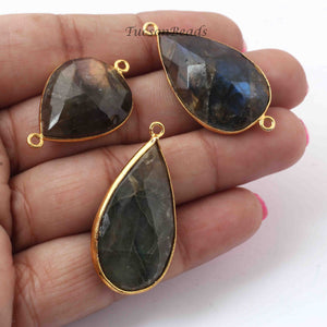 3 Pcs Labradorite  Faceted Pear Shape 24k Gold Plated Pendant & Connector - 37mmx19mm-PC494 - Tucson Beads