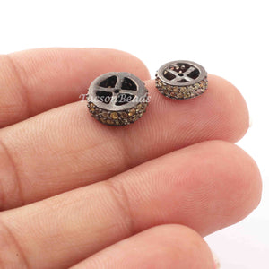 1 Pc Two Step Multi Sapphire 925 Sterling Silver Rondelles Beads -8mm-10mm PDC1131 - Tucson Beads