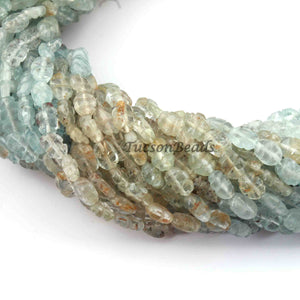 1 Long  Strand  Multi Aquamarine Faceted  Briolettes - Carved Shape Briolettes 6mx5mm-9mmx5mm  14 Inches BR2346 - Tucson Beads