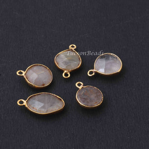 5 Pcs Golden Rutile  Assorted Faceted Shape 24k Gold Plated Pendant&Connector - 20mmx11mm-16mmx12mm-PC744 - Tucson Beads