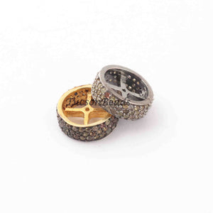 1 Pc Three Step Multi Sapphire 925 Sterling Silver/ Vermeil Rondelles Beads -11mm PDC1114 - Tucson Beads