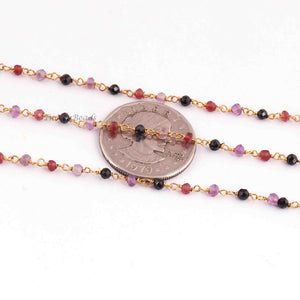 5 Feet Garnet Black Spinel Pink Amethyst 2.5mm-3mm Rosary Style Beaded Chain -Mix stone beads Wire Wrapped Gold & Black Plated Chain BDG022 - Tucson Beads
