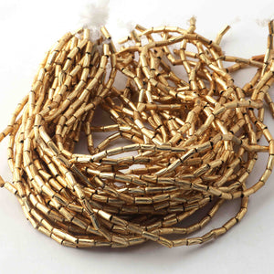 10 Strands AAA Quality Gold Plated Designer Copper Tube Beads,Pipe Beads Jewelry Making Supplies, 8mmx2mm,9 inches Bulk Lot GPC229 - Tucson Beads