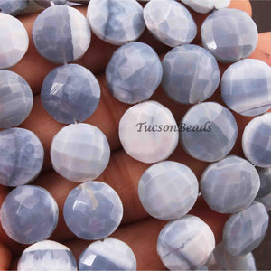 1 Strand Blue Opal Faceted Round Briolettes - Blue Opal Coin / Round Beads 12mmx12mm-13mmx14mm 8.5 Inches BR2221 - Tucson Beads