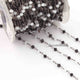 5 Feet White & Black Glass Hydro Beaded Rosary Chain, 3mm Faceted Beads,Black Plated Wire Wrapped Chain, - Tucson Beads