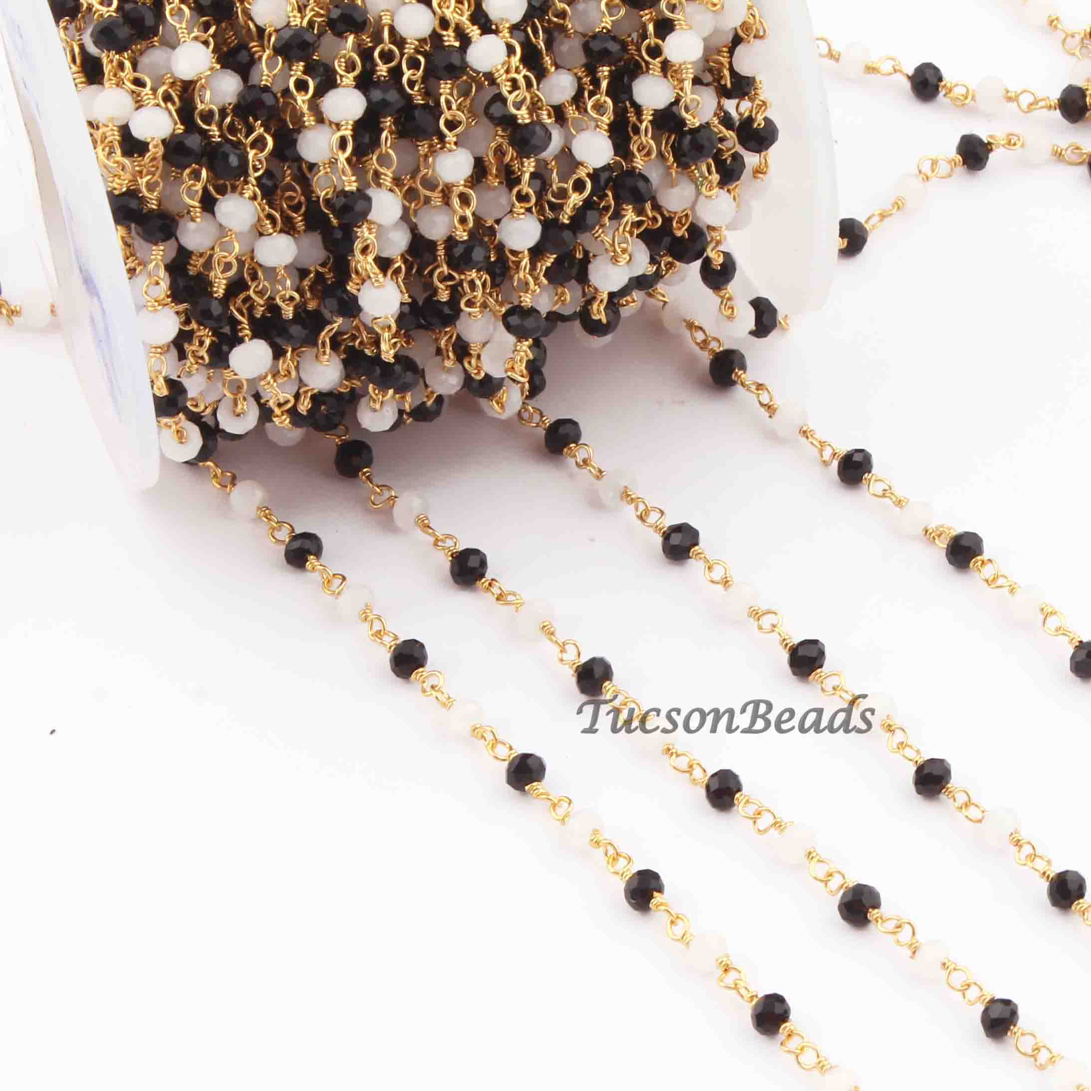 Jewelry Making Supplies, 24k Gold Plated Chain 6mm-7mm Beaded Chain Rosary Chain 5  Feet Turquoise Gold Wire Chain Stablized Roundelles