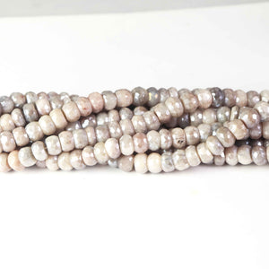 1  Strand Gray Moonstone Silver Coated Faceted Round Briolettes- Gray Moonstone Silver Coated Faceted Round Beads Briolettes  8mm-9mm  13 Inch BR4008 - Tucson Beads