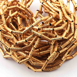 10 Strands AAA Quality Gold Plated Designer Copper Tube Beads,Pipe Beads Jewelry Making Supplies, 6mmx2mm,7 inches Bulk Lot GPC237 - Tucson Beads