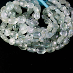 1 Strand Aquamarine Faceted Oval Shape Briolettes-  Aquamarine 10mmx7mm-13mm-10mm 14 Inch BR3138
