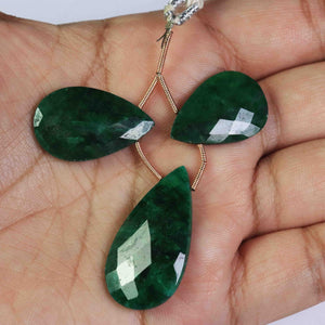 3 Pcs Rare Fine Quality Dyed Emerald Two Matching  Pear  Briolettes - Emerald Faceted Pear Beads 26mmx16mm-32mmx17mm BR1872 - Tucson Beads