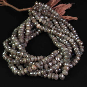 1  Strand Peach Moonstone Silver Coated Faceted Roundels -Round Shape 7mm-9mm 13 Inches BR818 - Tucson Beads