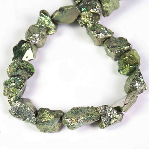 1 Strand  Green Pyrite Free From Shape Center Drill Brioellets-  Nuggets Briolette 9mmx10mm-15mmx9mm 8 Inches BR1878 - Tucson Beads
