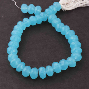 1 Strand Aqua Chalcedony Faceted Rondelles - Roundle Beads 8mm-9mm 8 Inches BR1866 - Tucson Beads