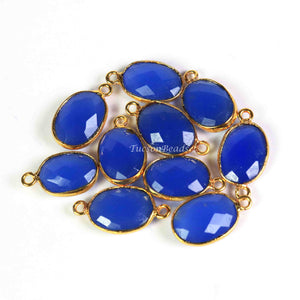 9  Pcs Blue Chalcedony Faceted Oval Shape 24k Gold Plated Connector&Pendant   - 22mmx11mm-17mmx10mm-PC599 - Tucson Beads