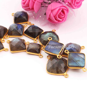 15 Pcs Labradorite 24k Gold Plated Faceted Assorted Shape Connector Double Bail  - 24mmx17mm - 20mmx14mm PC008 - Tucson Beads