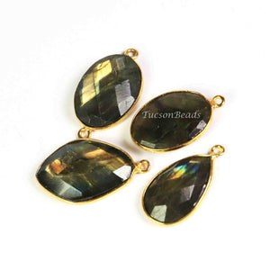 4  Pcs Labradorite  Faceted Assorted  Shape 24k Gold Plated Pendant & Connector - 27mmx18mm-PC518 - Tucson Beads