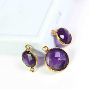 15   Pcs Amethyst  Faceted Round Shape 24k Gold Plated Connector&Pendant  - 21mmx14mm-14mmx10mm-PC579 - Tucson Beads