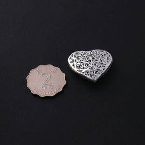 5 Pcs  Silver Plated Copper Heart Beads, Copper Beads, Jewelry Making Tools, 28mmx31mm, gpc830 - Tucson Beads