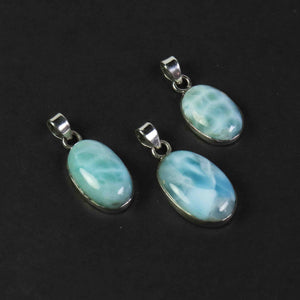 1 Pc Genuine and Rare Larimar Oval Pendant - 925 Sterling Silver - Gemstone Pendant  SJ080 - Tucson Beads