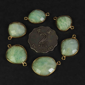 8  Pcs Amazonite Faceted Assorted Shape 24k Gold Plated Connector&Pendant - 29mmx16mm-23mmx14mm-PC671 - Tucson Beads