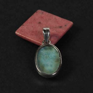1 Pc Genuine and Rare Larimar Oval Pendant - 925 Sterling Silver - Gemstone Pendant  SJ079 - Tucson Beads
