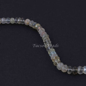 1 Strand Multi Stone Faceted  Rondelles -Round Rondelles  Gemstone Beads - 8mm-5mm  9.5  Inches BR1127 - Tucson Beads