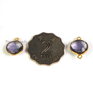 5   Pcs Amethyst Faceted Round Shape 24k Gold Plated Pendant& Connector - 16mmx13mm-PC673 - Tucson Beads