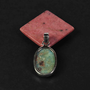 1 Pc Genuine and Rare Larimar Oval Pendant - 925 Sterling Silver - Gemstone Pendant  SJ081 - Tucson Beads