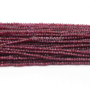 5 Strands Garnet Faceted AAA Quality Rondelles 3.5mm to 4mm 13.5 inch strand RB085 - Tucson Beads