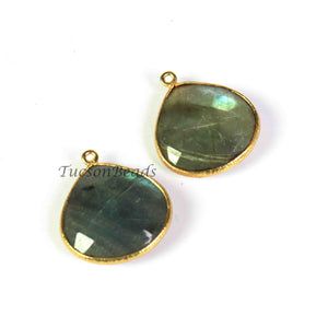 2  Pcs Labradorite  Faceted Heart  Shape 24k Gold Plated Pendant - 24mmx21mm-PC546 - Tucson Beads