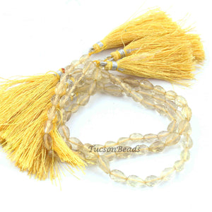 1 Strand Lemon Quartz  Faceted  Briolettes - Tear Drop  Shape Briolettes 7.5 inch 7mmx5mm-9mmx6mm  BR3270 - Tucson Beads