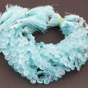 1 Strand Aaa Quality Aqua Chalcedony Faceted Heart Shape Beads Briolettes 8mm-9mm 8 Inches BR1721 - Tucson Beads