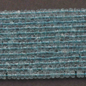 5 Strands Aquamarine Faceted Finest Quality Rondelles 3.5mm to 4mm 13.5 inch strand RB109