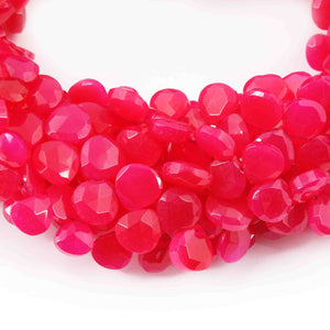 1 Strand Aaa Quality Hot Pink Chalcedony Faceted Heart Shape Beads Briolettes 7mm-8mm- 8 Inches BR1720 - Tucson Beads