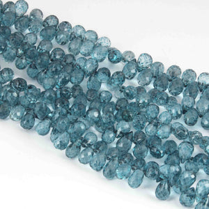 1 Strand Blue Topaz  Faceted Briolettes -Tear Shape  Briolettes -9mmx5mm   8 Inches BR1696 - Tucson Beads