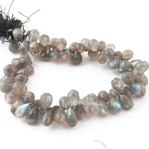 1 Strand Labradorite Faceted Briolettes -Tear Drop Shape  Briolettes 7mmx7mm-9  Inches BR3639 - Tucson Beads
