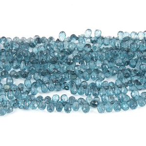 1 Strand Blue Topaz  Faceted Briolettes -Tear Shape  Briolettes -6mmx4mm   8 Inches BR1693 - Tucson Beads