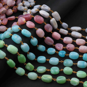 1 FEET  Pink Opal Nuggets Beaded Chain - Pink Opal 24k Gold Plated Rosary Style Chain - 12mmx8mm-16mmx10mm- SC023 - Tucson Beads