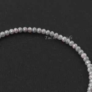 20.5 Ct 1 Long Strand Gray Diamond  1mm Large Big Hole Rondelles Genuine Diamond Beads 8 Inch Long BDU016 - Tucson Beads