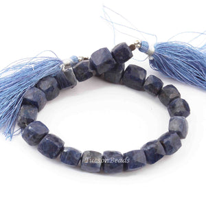 1 Long Strand Lapis Lazuli Faceted Cube Briolettes - Box shape Beads 7mm-9mm 7.5 Inches BR3215 - Tucson Beads